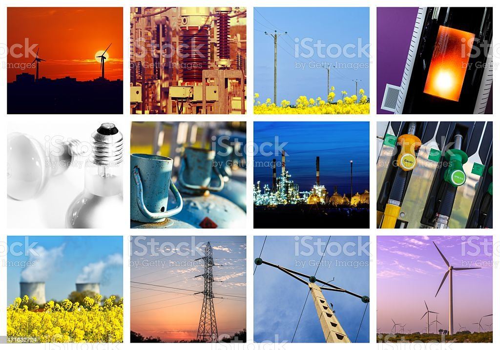 A collage of twelve power and energy concepts stock photo