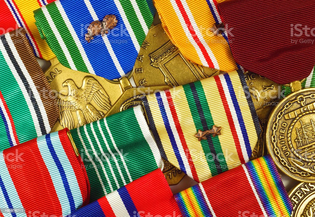 Collage of US Military Medals and Ribbons royalty-free stock photo