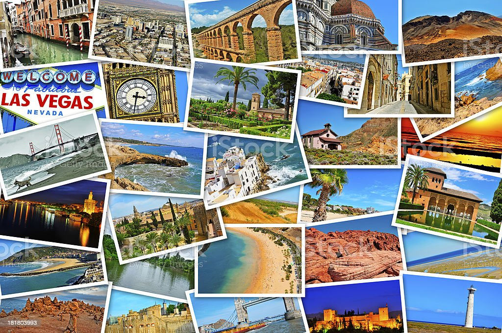 Collage of vacation photos from around the world stock photo
