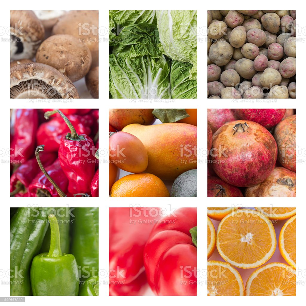 collage of various fruits and vegetables - food concept stock photo
