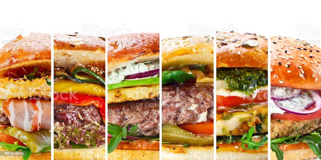 collage of various hamburgers stock photo