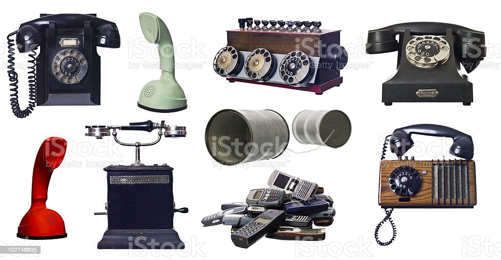 Collage of vintage telephones stock photo