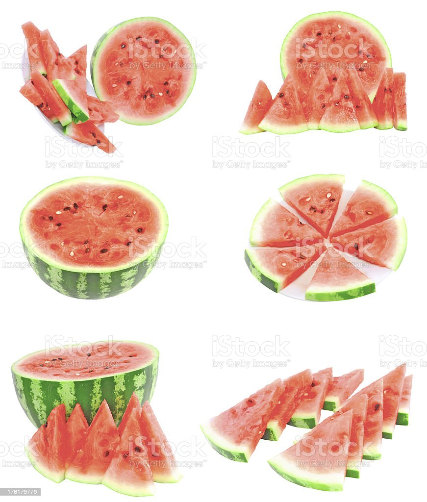 Collage of watermelon on white, isolated royalty-free stock photo