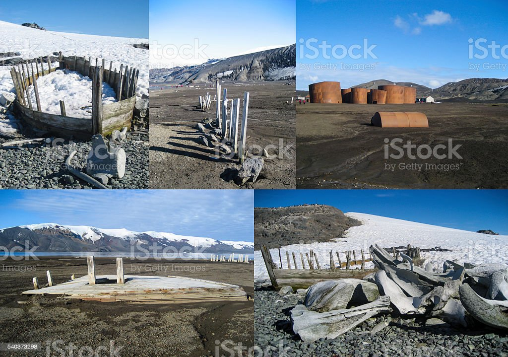 Collage of whale bones and whaling boats Antarctica stock photo