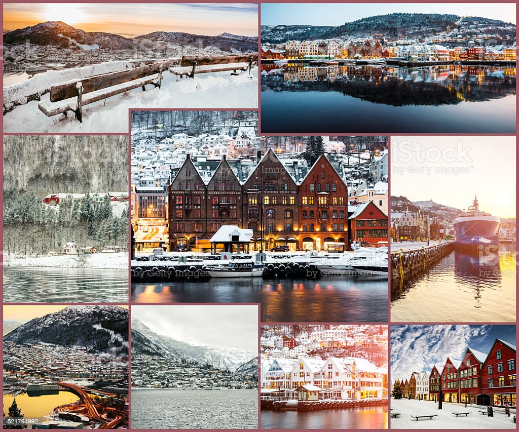 collage of winter and attractions in Bergen stock photo