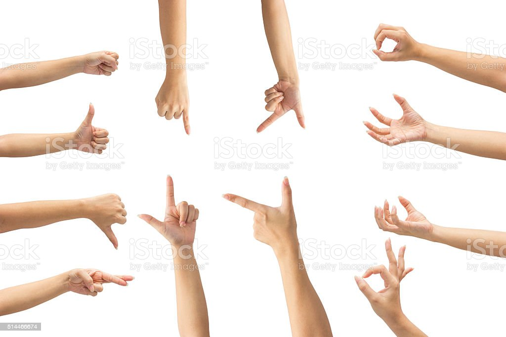 Collage of woman hands on white backgrounds stock photo