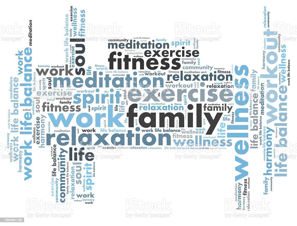 Collage of work life balance phrases stock photo