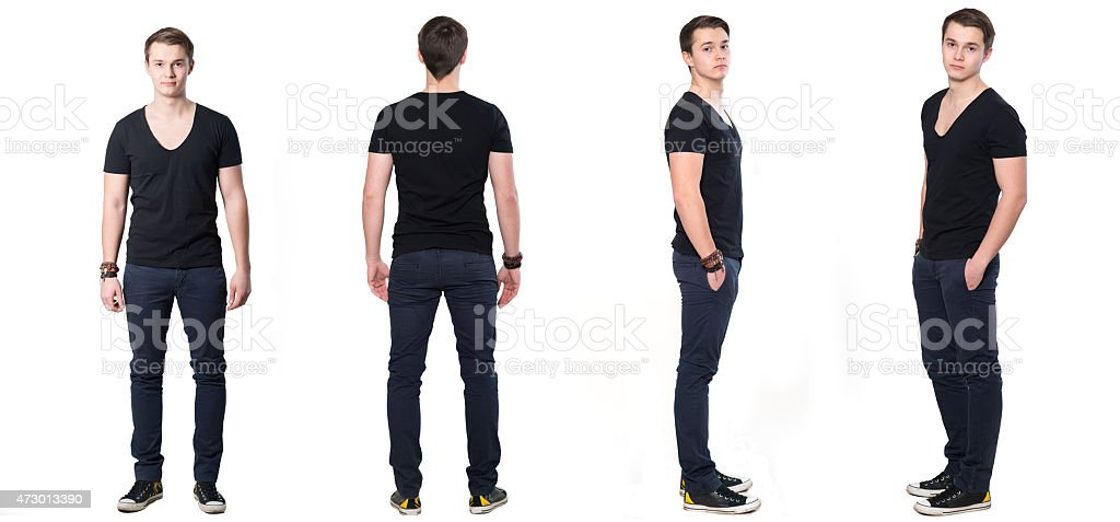 Collage of young Man from all sides.Iisolated on white backgroung stock photo