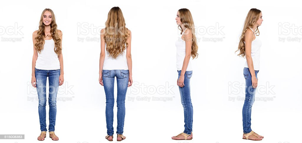 Collage of young woman from all sides stock photo
