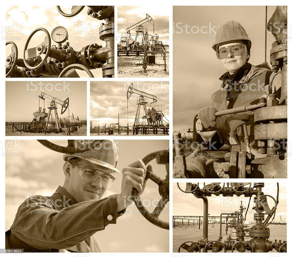 Collage oilfield stock photo