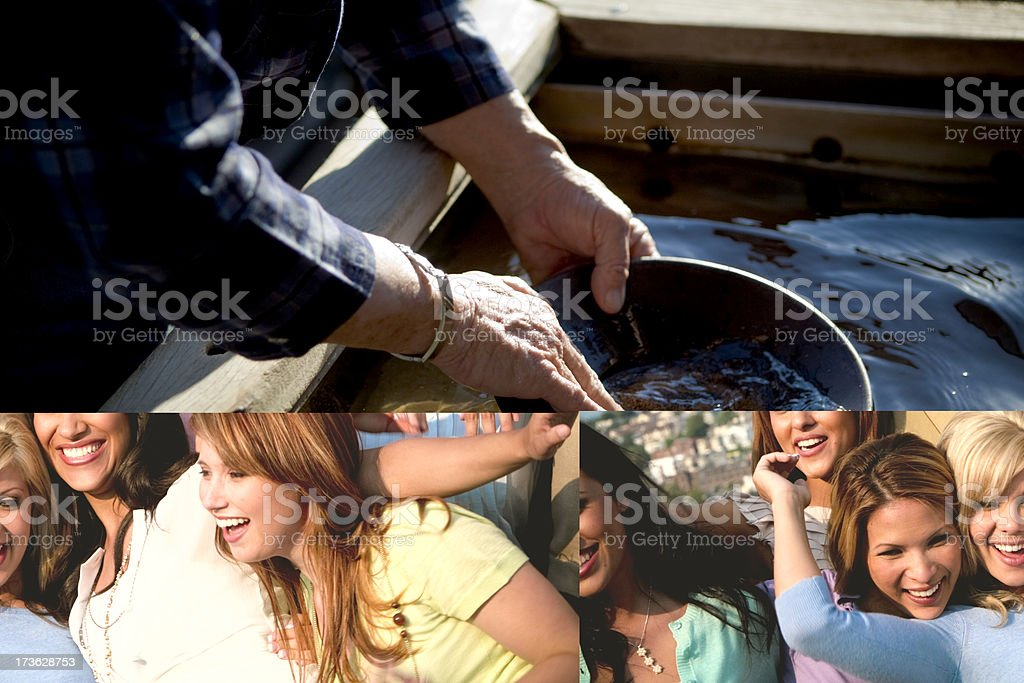 Collage pictures of a party and friends royalty-free stock photo