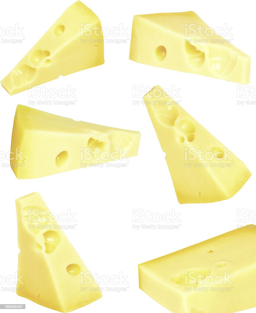 Collage  piece of fresh cheese on white. Isolated royalty-free stock photo