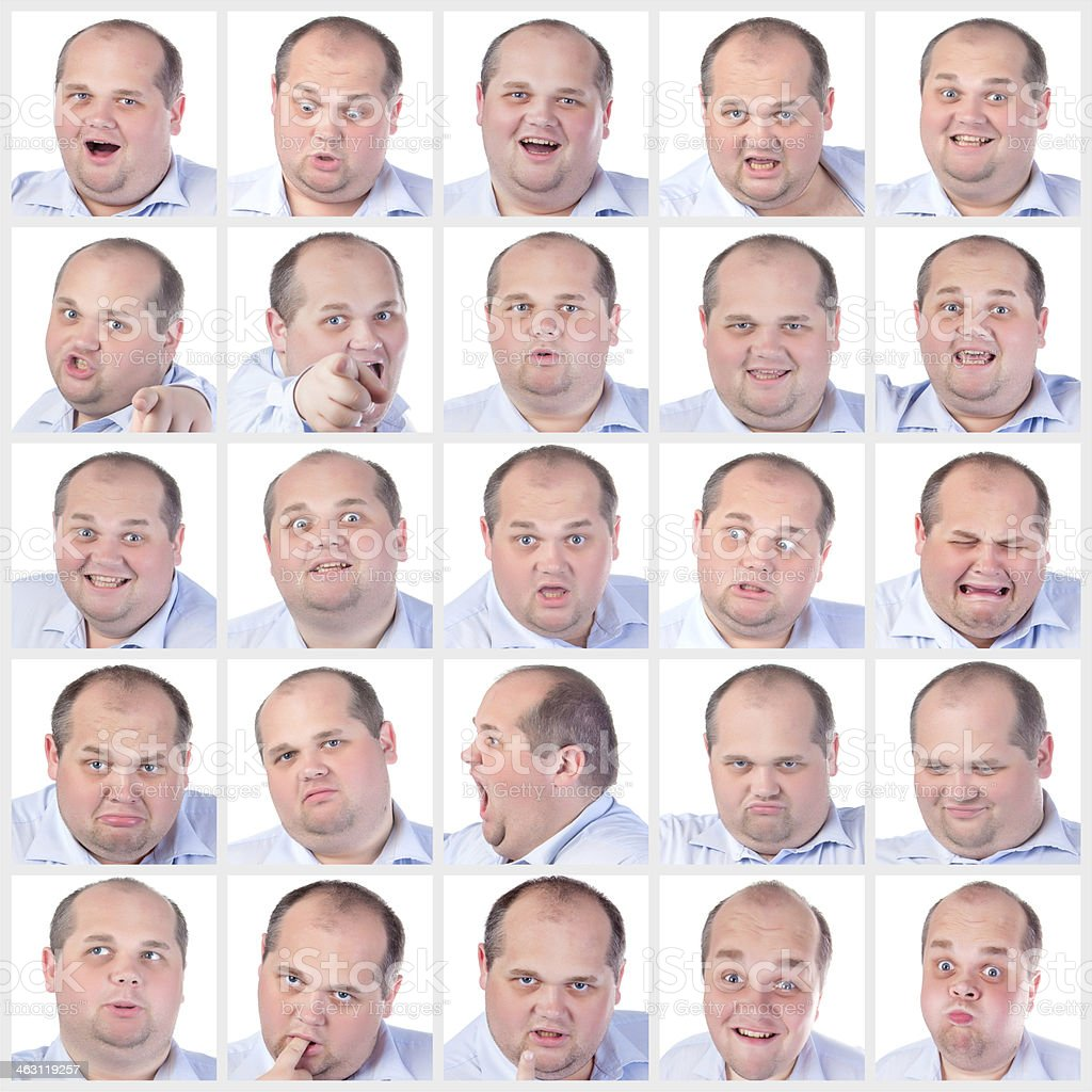 Collage portrait fat man with difference emotions royalty-free stock photo