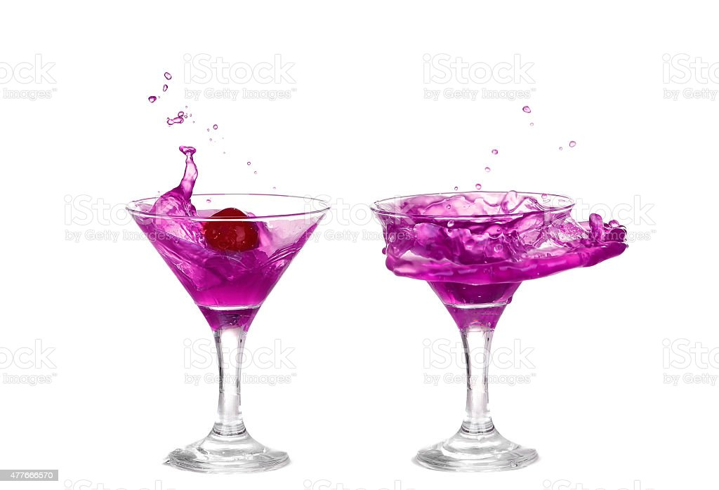 collage Purple liquid splashing in a martini glass isolated stock photo