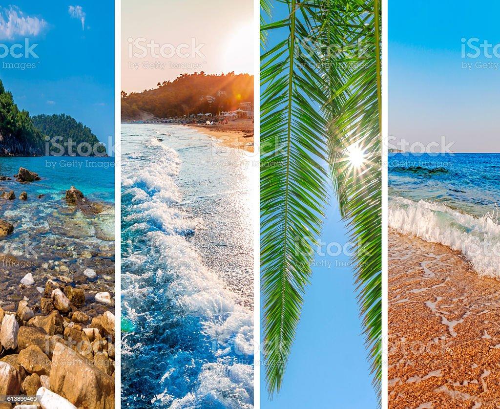 Collage sea beach picture background stock photo