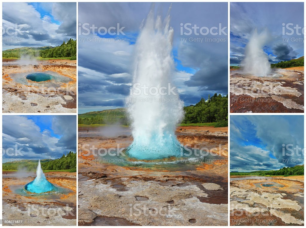 Collage showing the action of  geyser stock photo
