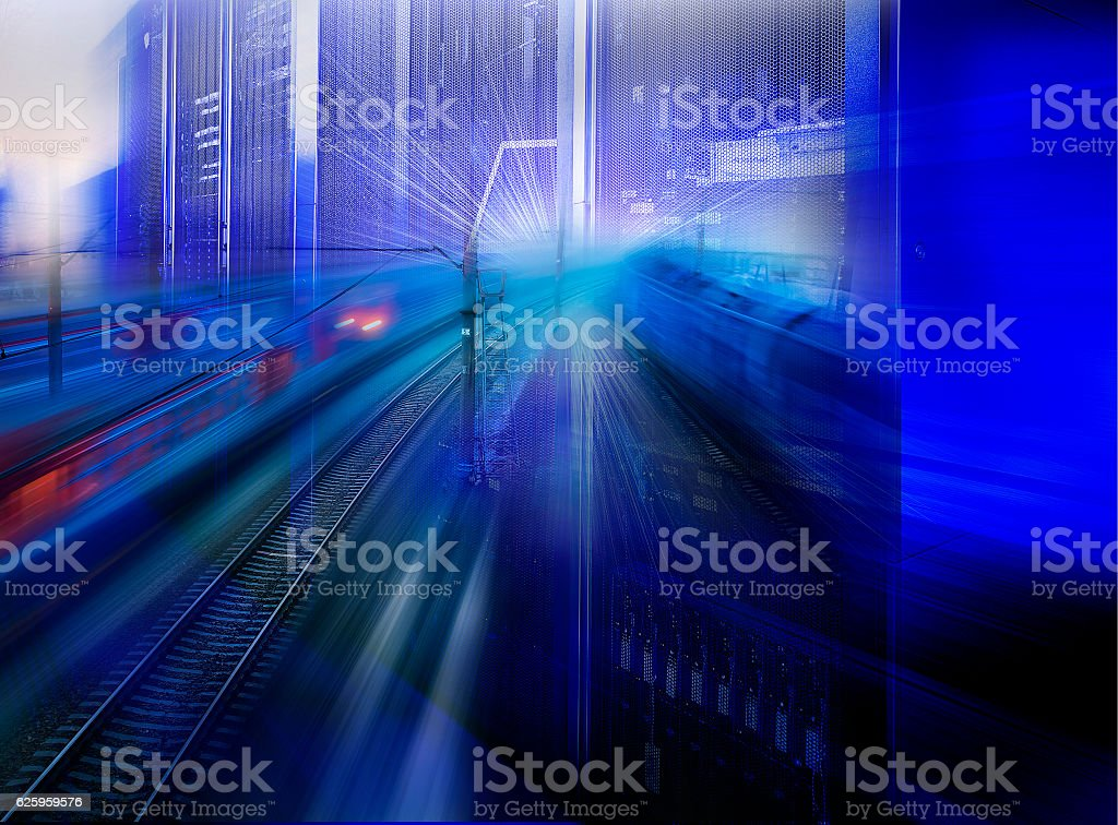 collage speed highway and railways in communication supercomputer stock photo