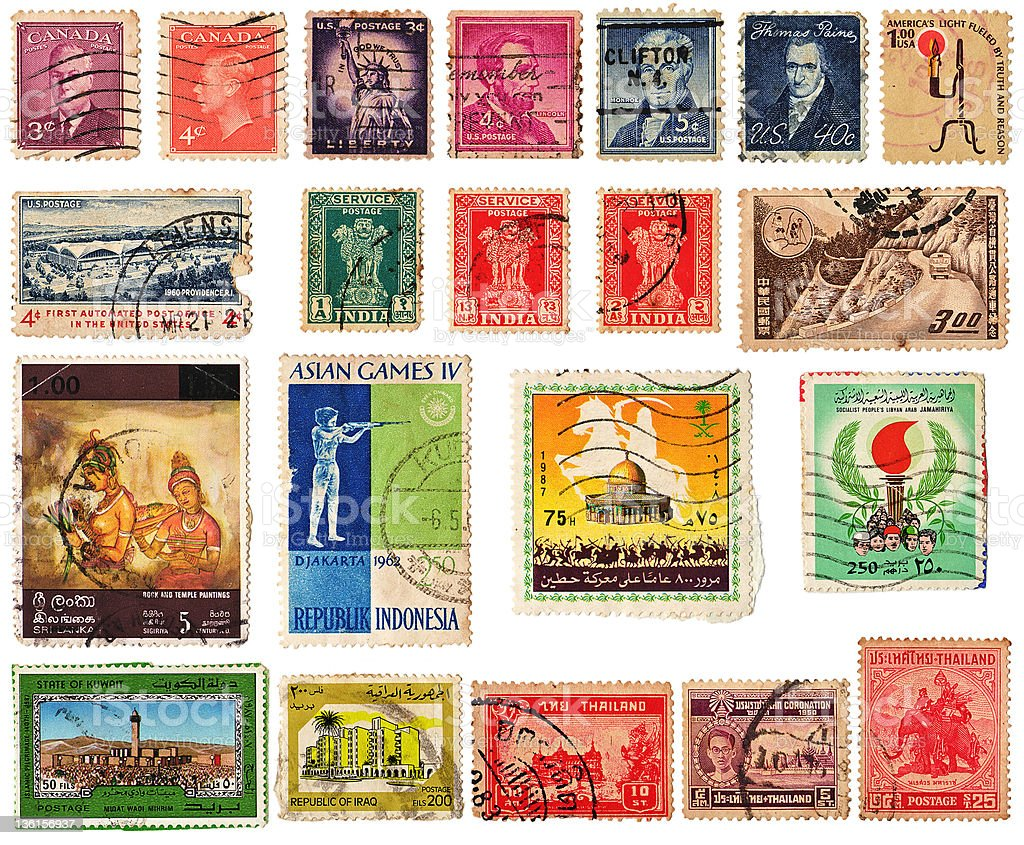 Collage : Vintage America and Asian Stamps isolated on white stock photo