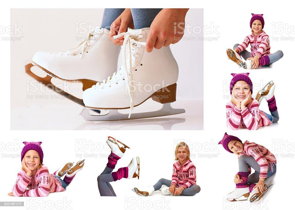 collage - winter ise skates stock photo