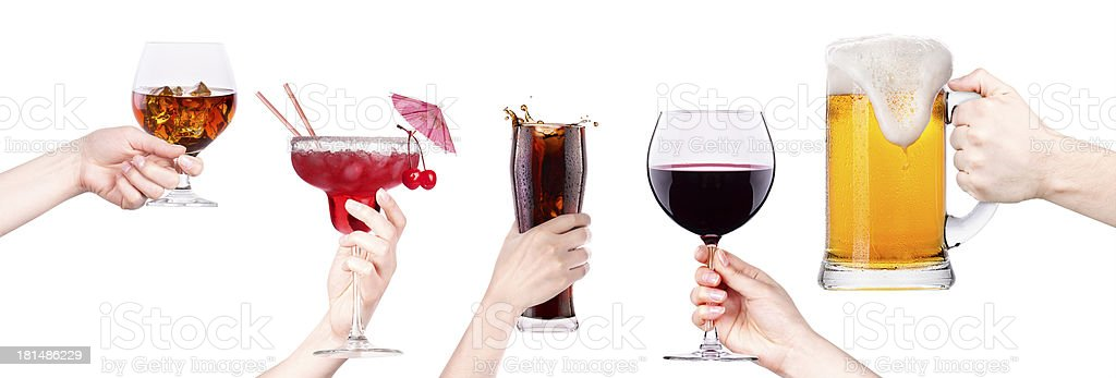 collage with alcohol cocktails royalty-free stock photo