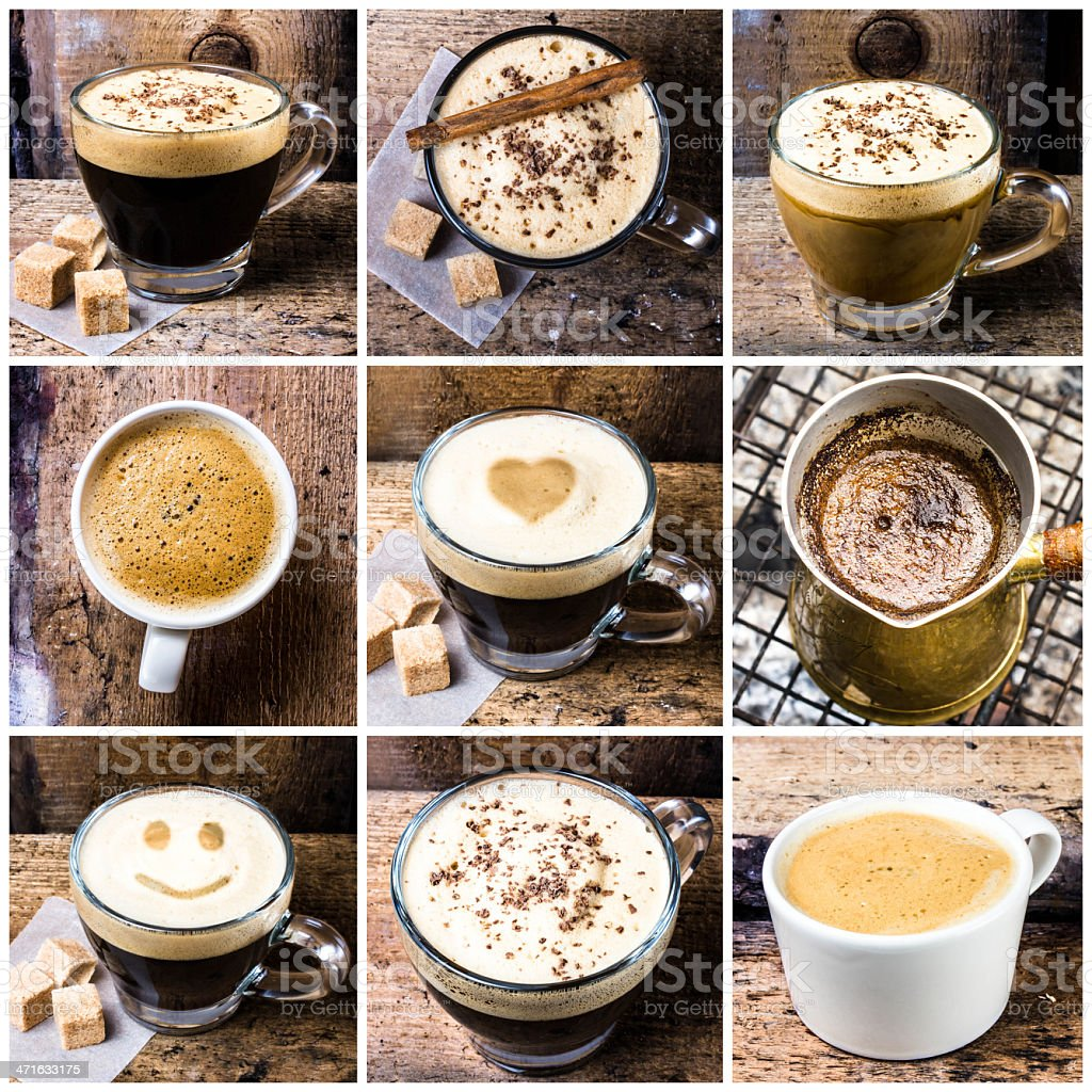 collage with Coffee espresso, cappuccino, latte royalty-free stock photo