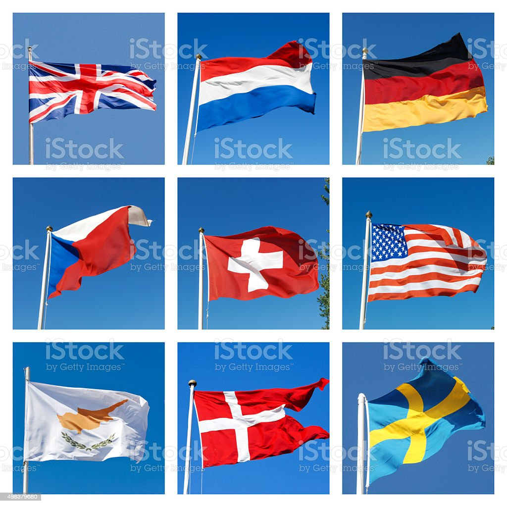 Collage with flags of different countries stock photo