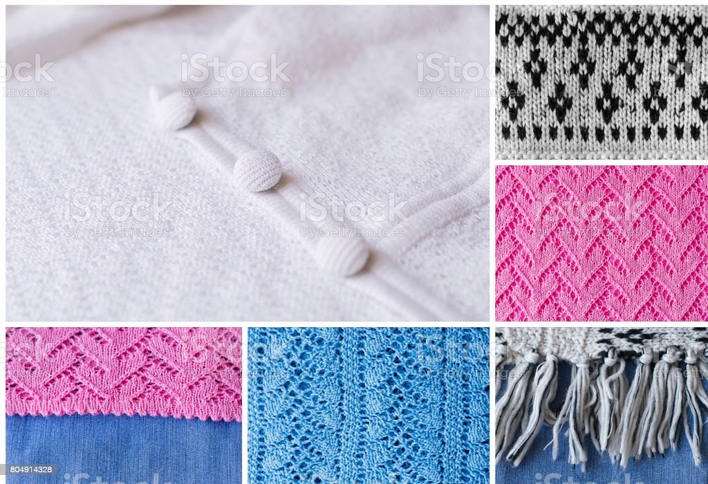 Collage with knitted material. Knitted design, handmade work