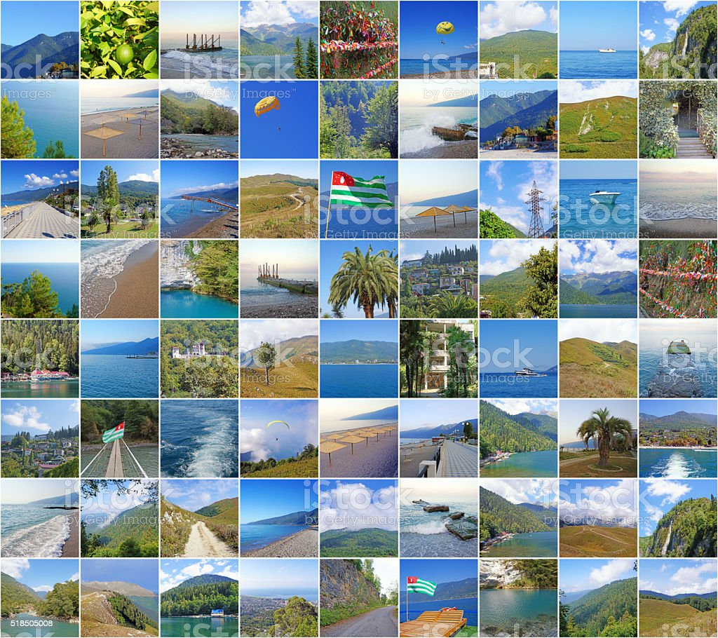 Collage with nature and sights of Abkhazia. stock photo