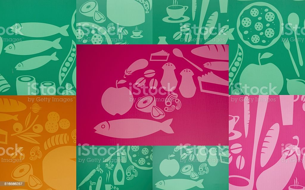 Collage with pictures of food vector art illustration
