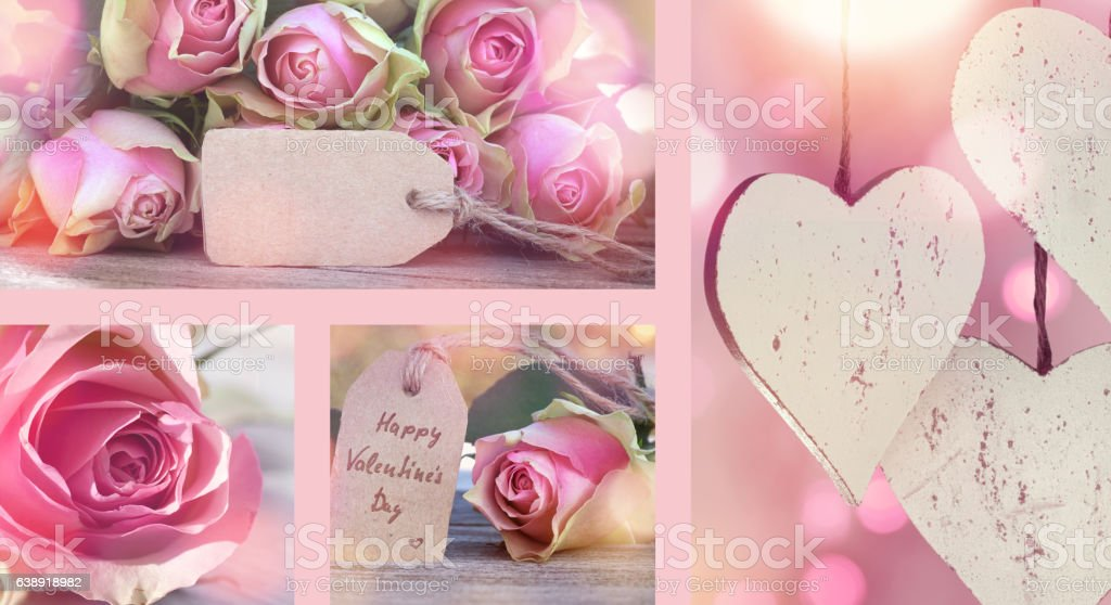 Collage with roses for Valentines Day stock photo