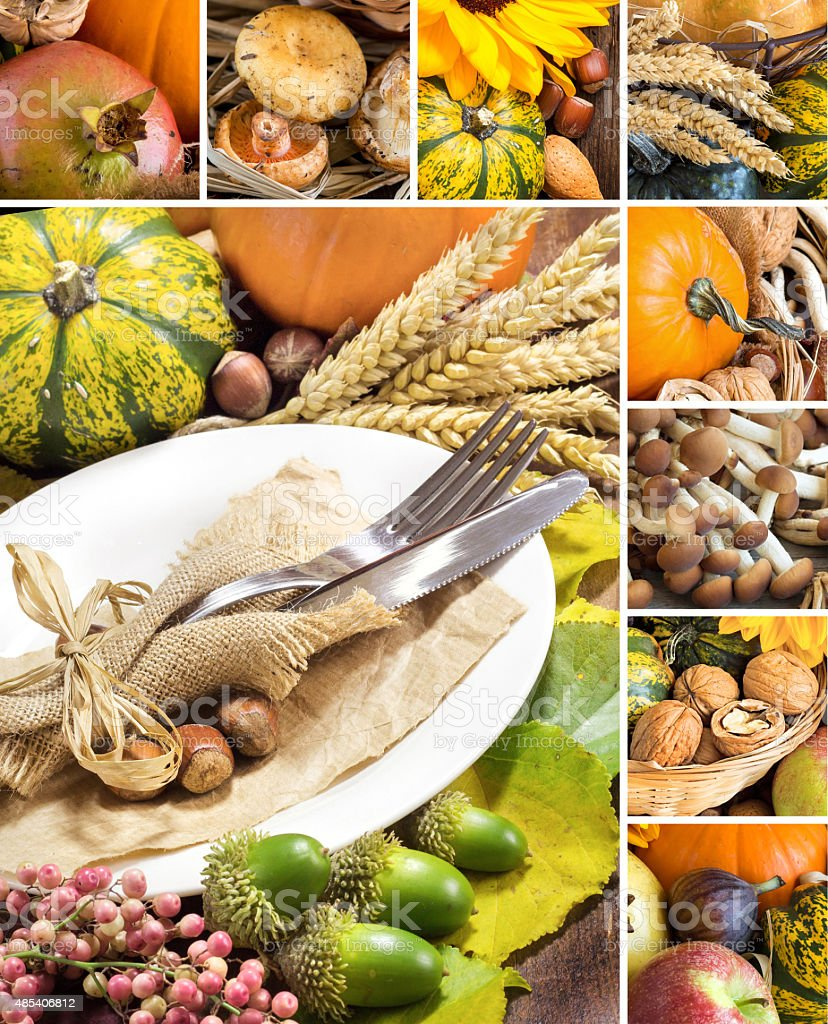 Collage with Rustic autumn table setting stock photo