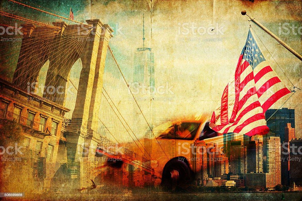 collage with symbols of New York City stock photo