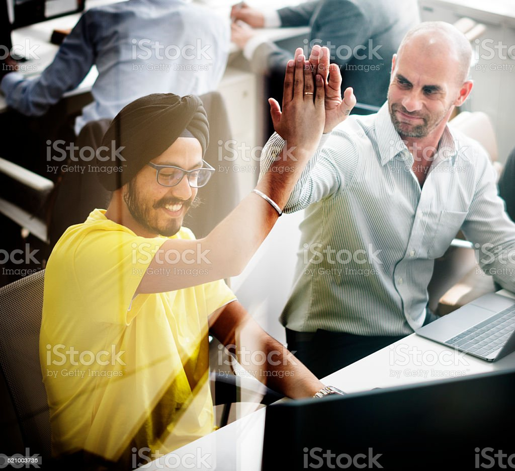 Collagues Coworker Teamwork Success Mission Concept stock photo