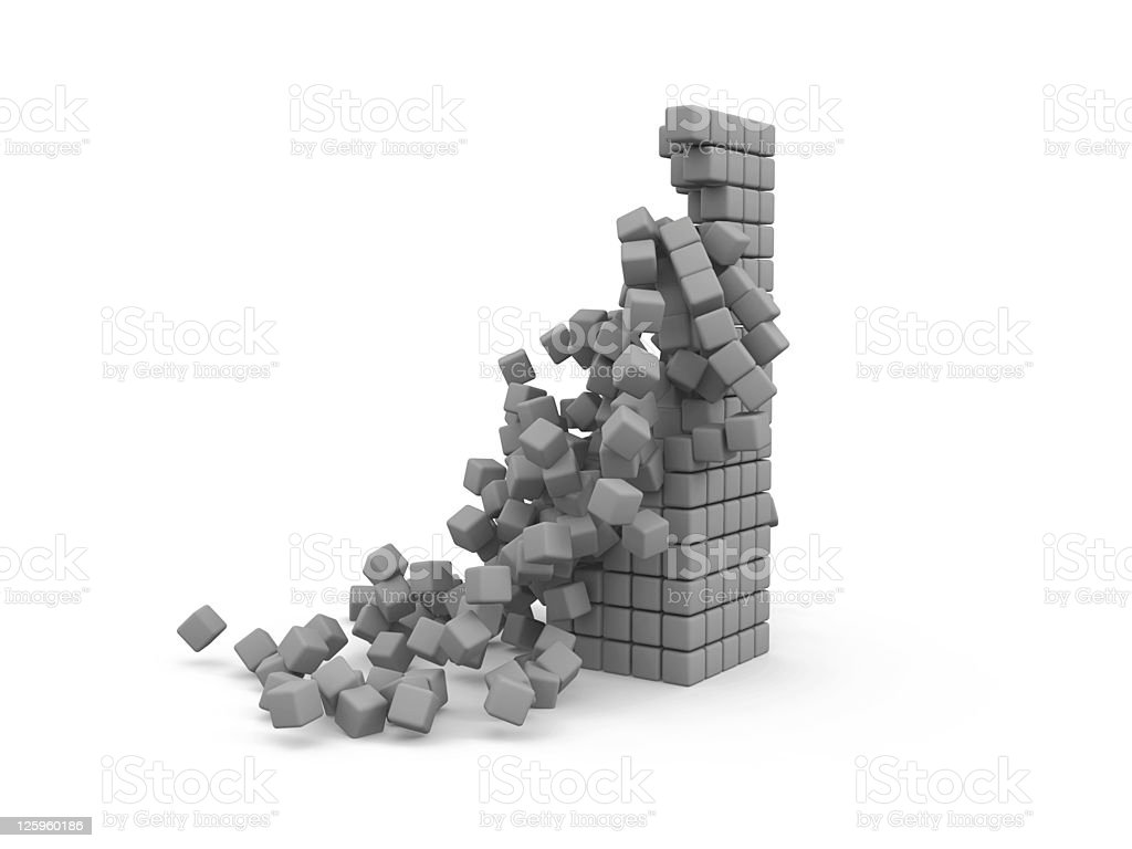 collapse cubes stock photo