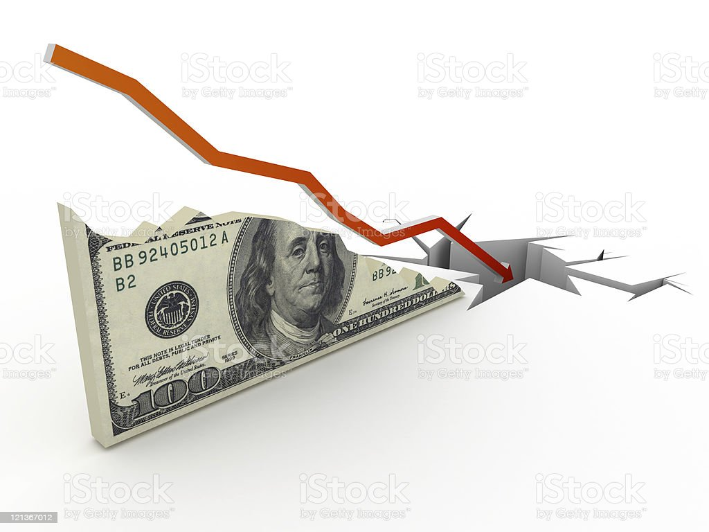 Collapse Dollar Chart royalty-free stock photo