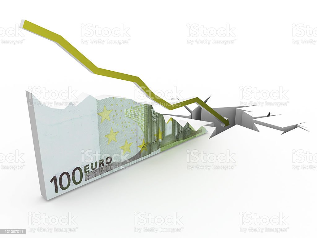 Collapse Euro Chart royalty-free stock photo