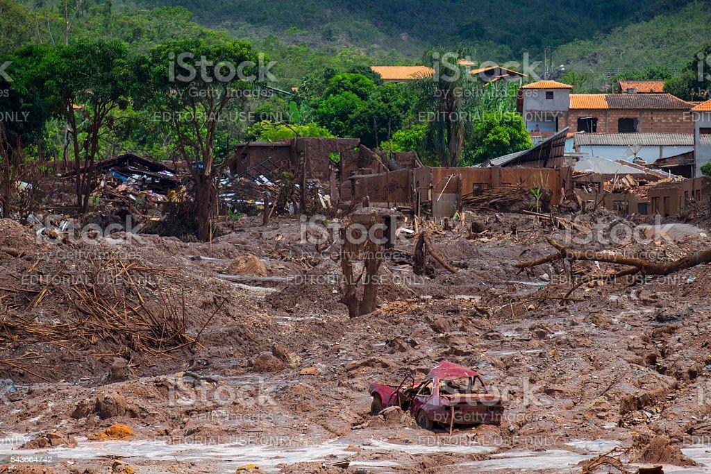 Collapse of Fundao mining dam in Mariana stock photo