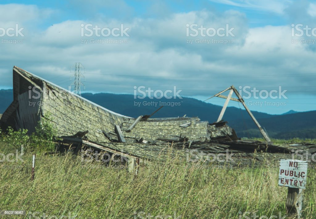 Collapsed barn stock photo