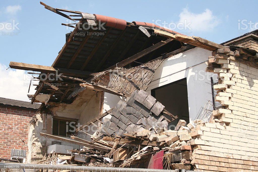 collapsed building stock photo