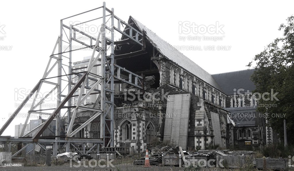 Collapsed Cathedral, Christchurch stock photo