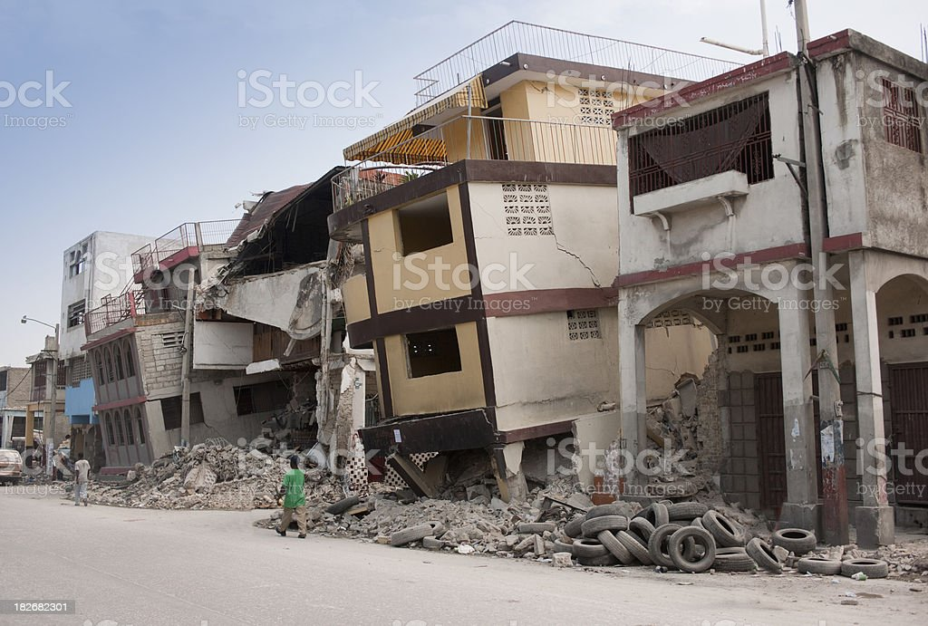 Collapsed houses stock photo