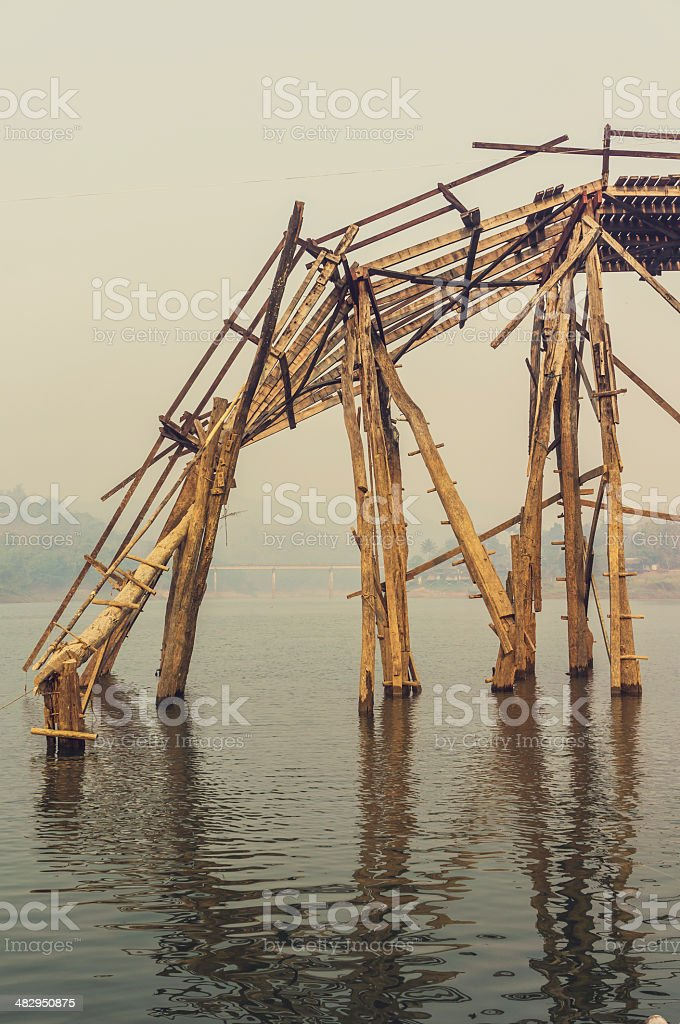 Collapsed Mon Bridge stock photo