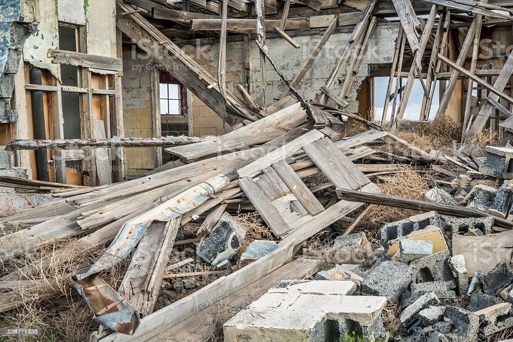 collapsed old wooden house stock photo