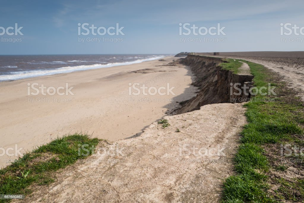 collapsed path Happisburgh. stock photo
