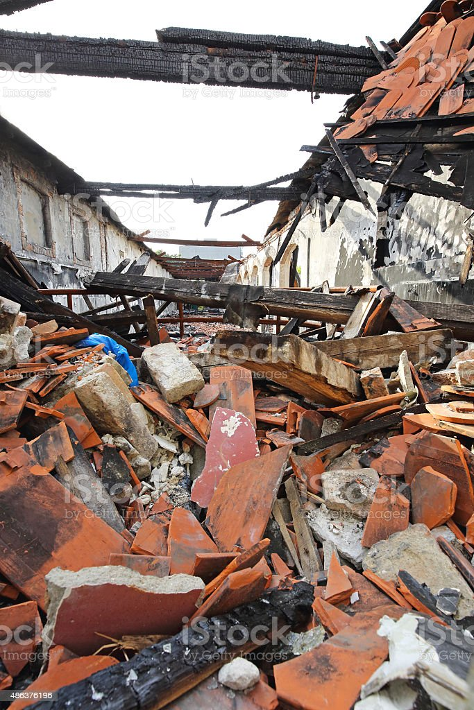 Collapsed Roof stock photo