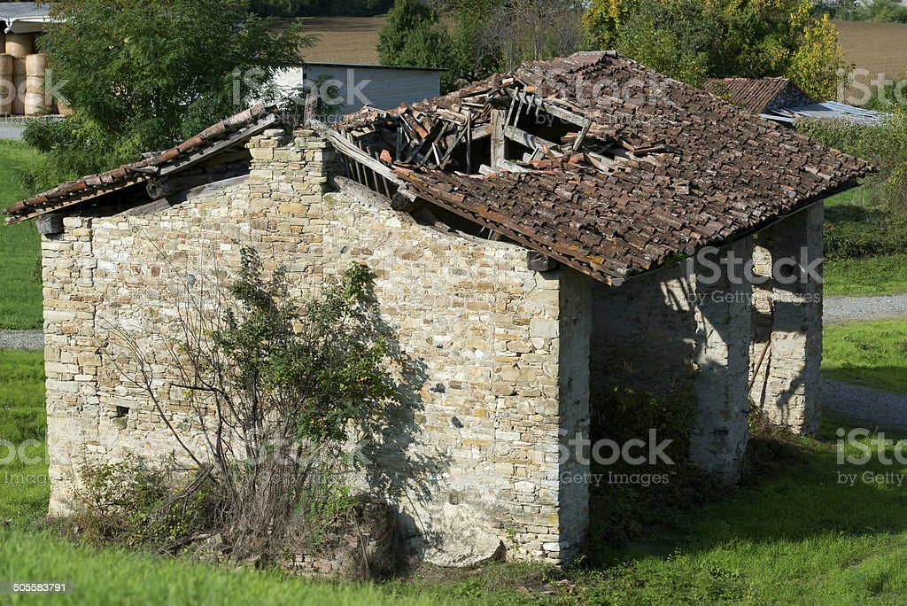 collapsed roof royalty-free stock photo