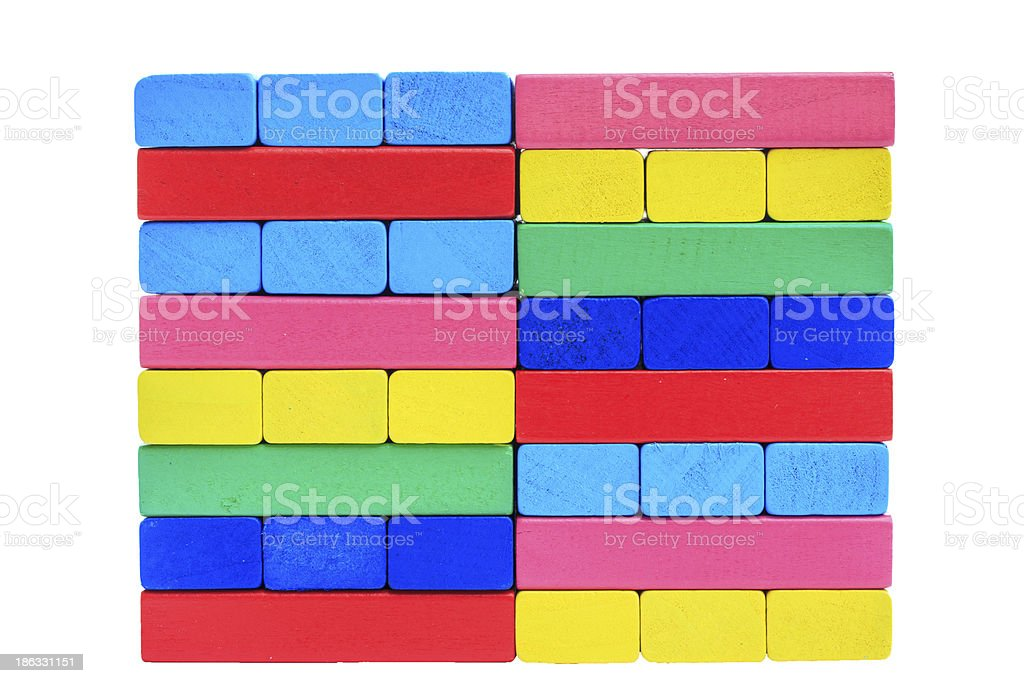 collapsed wooden blocks colorful toy isolate on white with clipp royalty-free stock photo