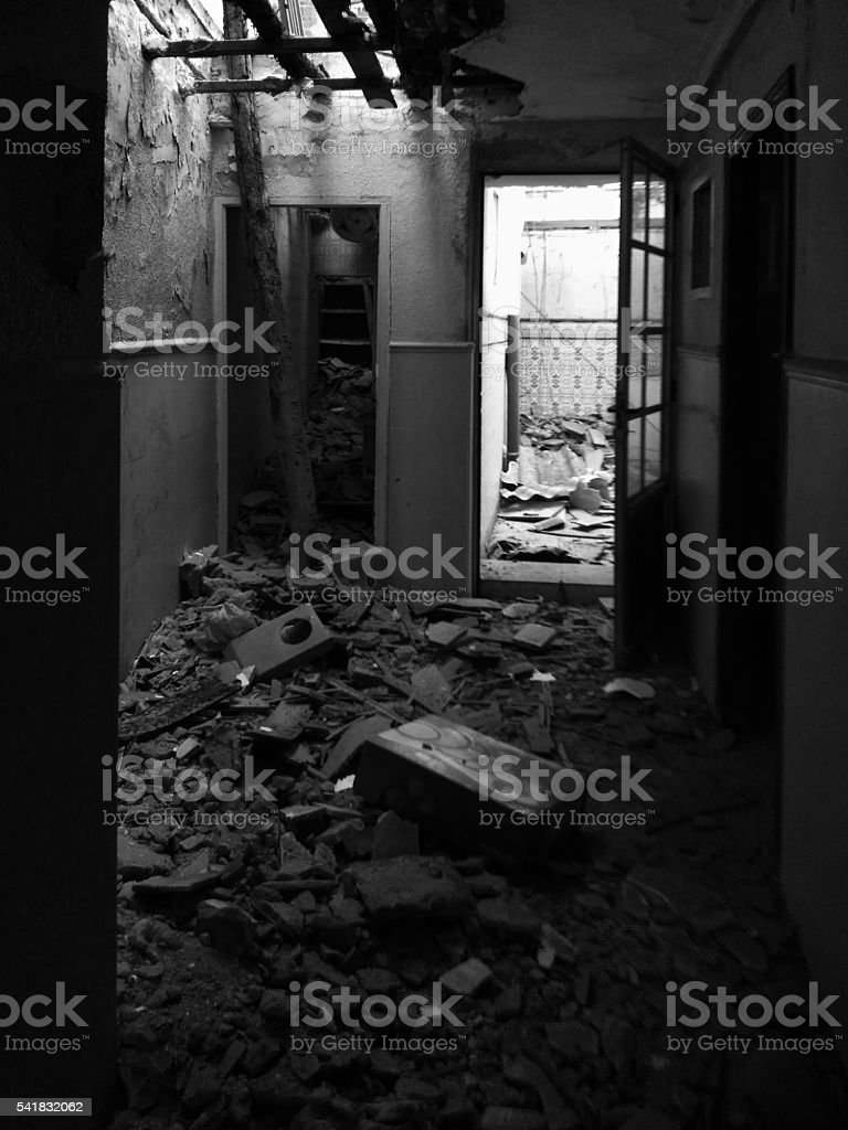Collapsing ceiling stock photo