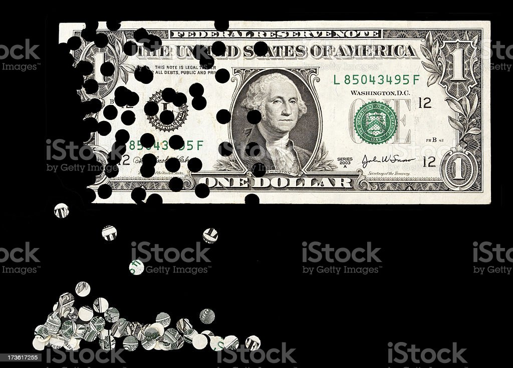 Collapsing dollar currency inflation by financial holes stock photo