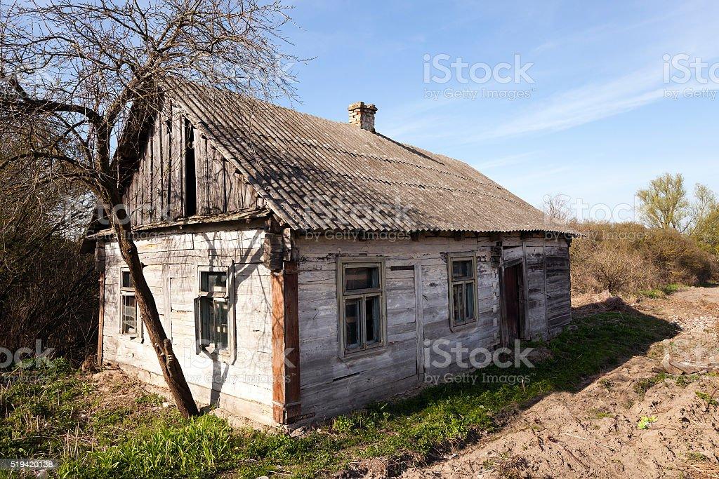 collapsing wooden farmhouse stock photo